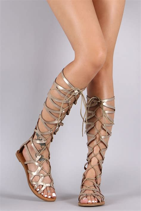 knee high lace up sandals new gold gladiator sandals knee high lace up tie flat