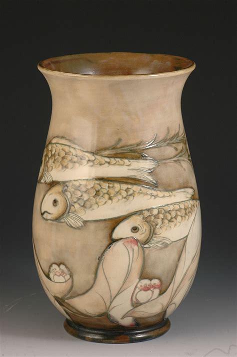 Fish Vase by William Moorcroft Hi Glaze Fish Vase C1926