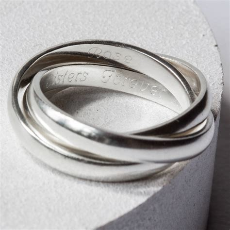 sterling silver engraved linked ring by the jewellery