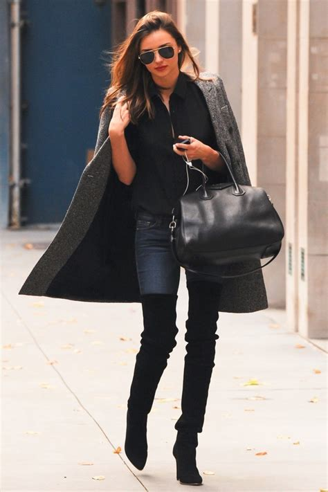 boots miranda kerr does striking suede thigh highs