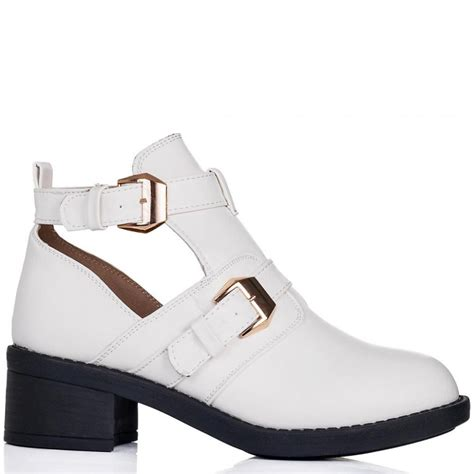 buy dramatic block heel buckle cut out ankle boots white