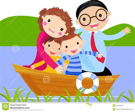 boat trip cartoon family boating clipart