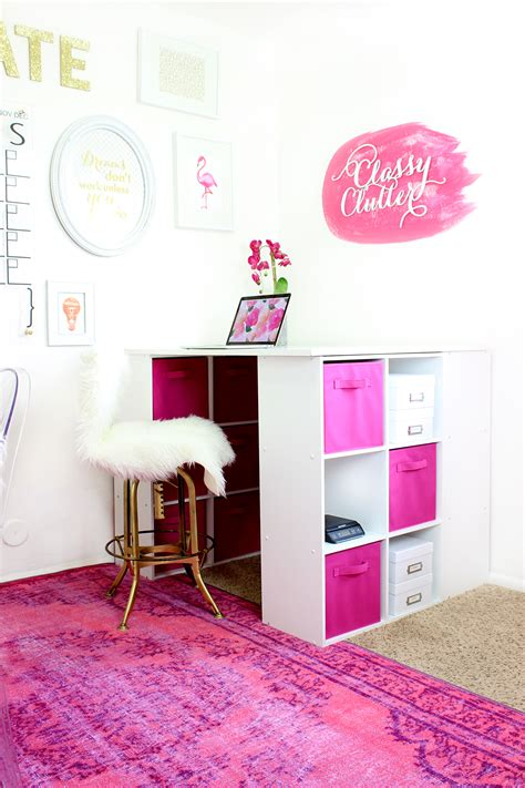Office Supplies Girly Mallory S Girly Office Makeover Clutter