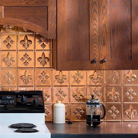 decorative kitchen backsplash fasade 24 in x 18 in fleur de lis pvc decorative tile backsplash in polished copper b66 25