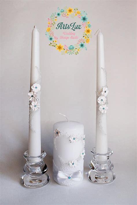 wedding candles wedding unity candle set with swarovski stones and