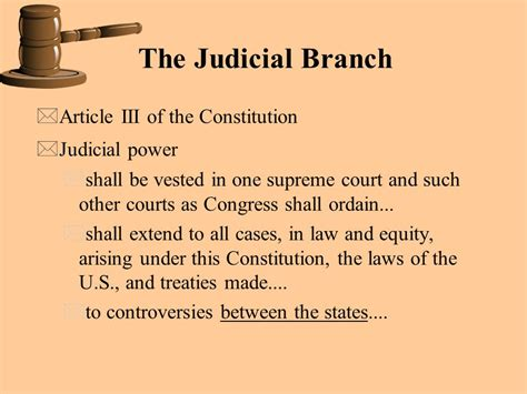 Powers Of The Legislative Branch Essay by The Judicial Branch Article Iii Of The Constitution Judicial Power Ppt
