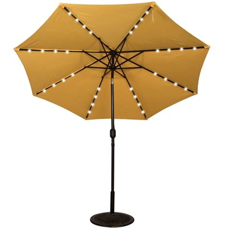 Solar Lighted Umbrella Patio Solar Powered 32 Led Lighted Outdoor Patio Umbrella With Crank And Tilt 9 Blue