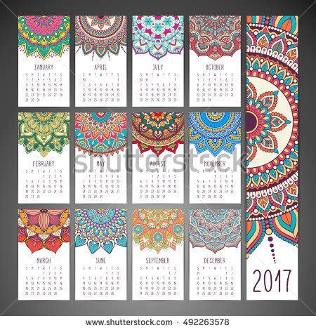calendar design pattern calendar 2017 vintage decorative elements oriental stock