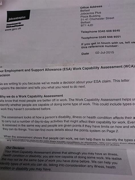 Jobcentre Award Letter Welfare Reform Kate Belgrave