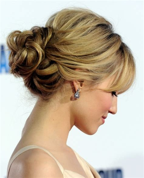 soft updo fine medium hair with bangs loose bun hairstyles weekly
