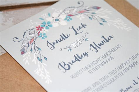boho chic wedding invites boho chic feather floral wedding invitations rustic