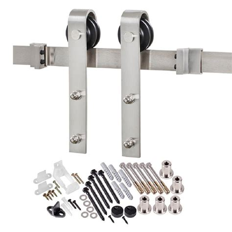 Stainless Barn Door Hardware Truporte 78 75 In Stainless Steel Bent Barn Door Hardware Bd102k 07800 Ss The Home Depot