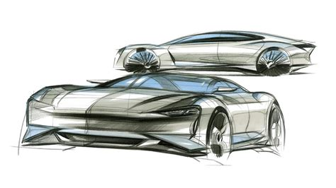 Porsche Mission E Sketches by Car Design Sketch Porsche Mission E
