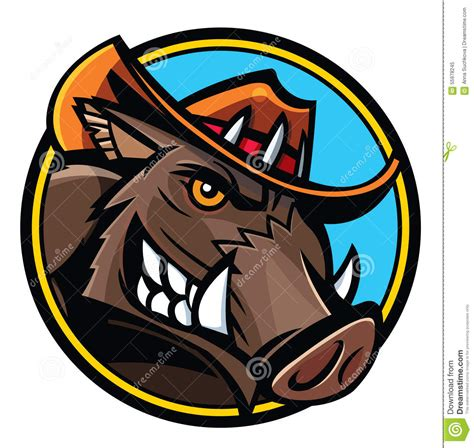 wild boar head stock vector image 55978245