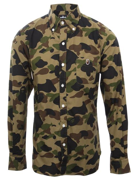Camo Shirts A Bathing Ape Camouflage Shirt With Ape Print In Green For