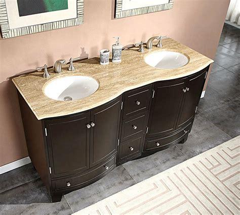 travertine top double white sink bathroom vanity espresso cabinet  ebay