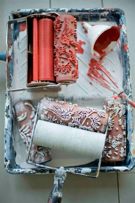 paint rollers with designs patterned paint rollers create classic wallpaper via painting design swan