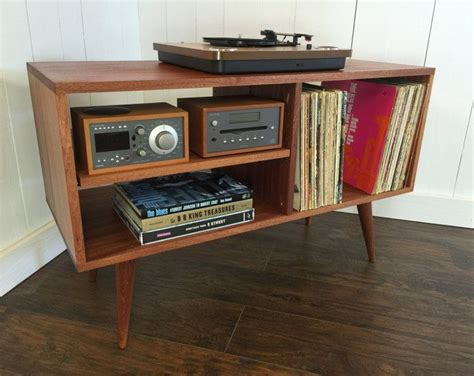 wood cabinet cd player mid century modern record player console turntable