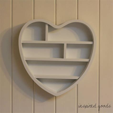 wooden heart shaped wall shelf shabby chic storage display