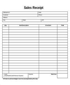 sales receipt template pdf printable sales receipt sle 5 exles in word pdf