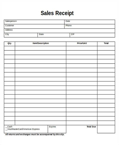 free blank sales receipt template 5 printable sales receipt sles sle templates