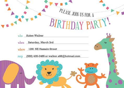 birthday invitations cards templates free template for birthday invitation