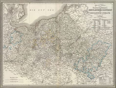 Mecklenburg Germany Birth Records Germany Mecklenburg 1856 Weiland Historic Map Reprint