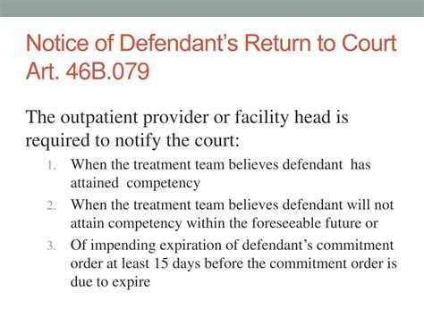 Returns To Courtsort Of by Ppt Incompetency To Stand Trial 46b 003 Powerpoint