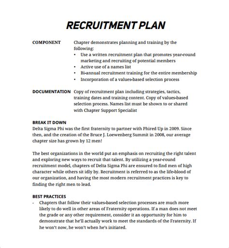 recruiting plan template sle recruiting plan template 9 free documents in pdf