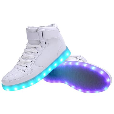 best usb led light women high top usb charging led light up shoes flashing