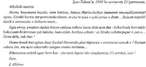 Exemple De Lettre D Hommage Oi Arnoaren Goxoa Ou Des 171 Nominaux 187 Du Basque