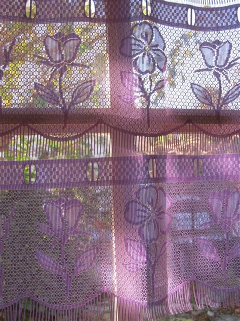 Purple Cafe Curtains Lilac Purple Lace Valance Kitchen Curtain Floral Curtain
