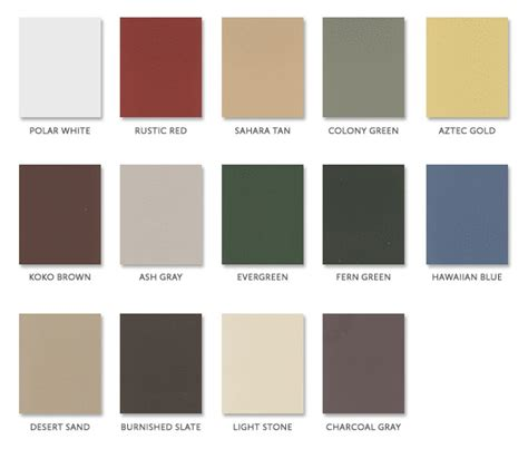 tin roof colors roofing color options residential tin roof colors