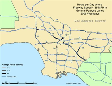 la traffic map reducing traffic congestion and improving travel options in los angeles newgeography