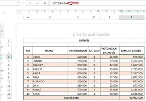 Rumus Microsoft Excel belajar rumus microsoft excel sederhana perkalian pengurangan persen kemejingnet