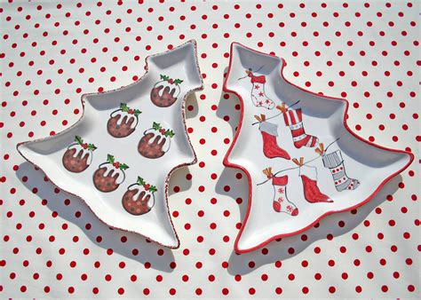 personalised christmas tree plate by sparkle ceramics