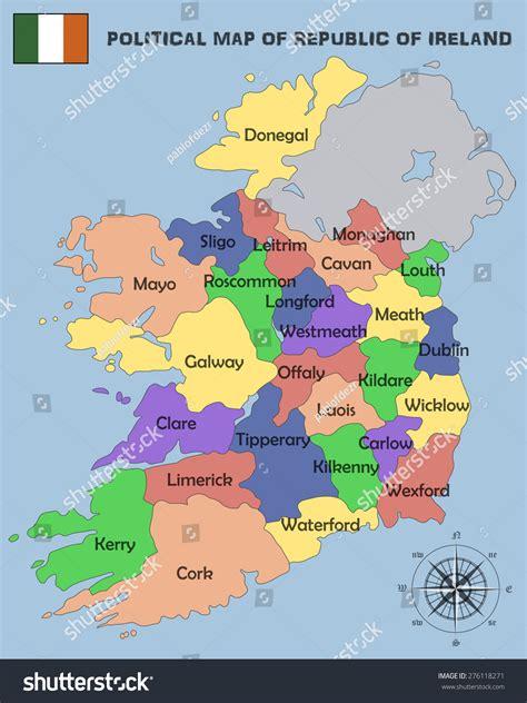 political map of the republic political map republic ireland stock vector 276118271