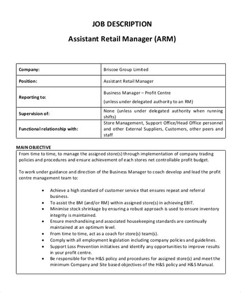 sle assistant manager description 9 exles in pdf word
