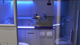 Bathroom Uv Light Boeing Unveils Self Cleaning Plane Bathroom That Uses Uv Light To Up Microbes Daily Mail