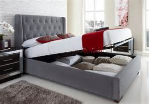 richmond upholstered winged ottoman storage bed double