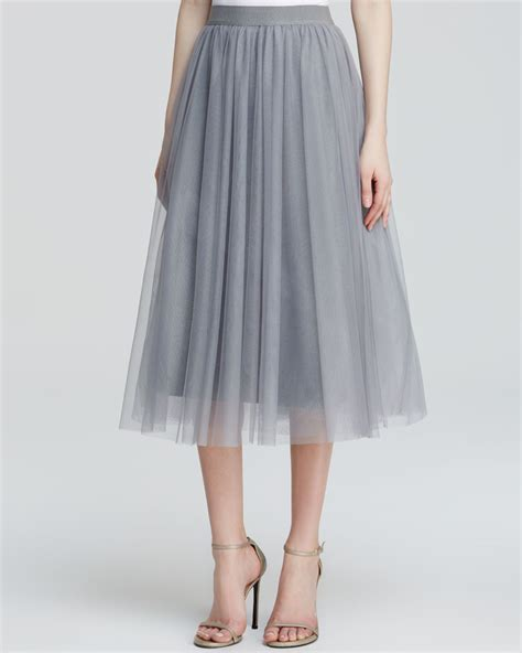 bailey 44 skirt shadow waltz tulle midi in metallic lyst