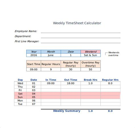 biweekly timesheet horizontal orientation with overtime