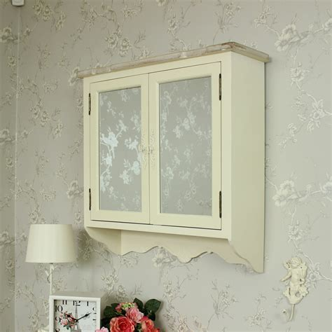 cream wooden mirrored wall cabinet shabby vintage chic