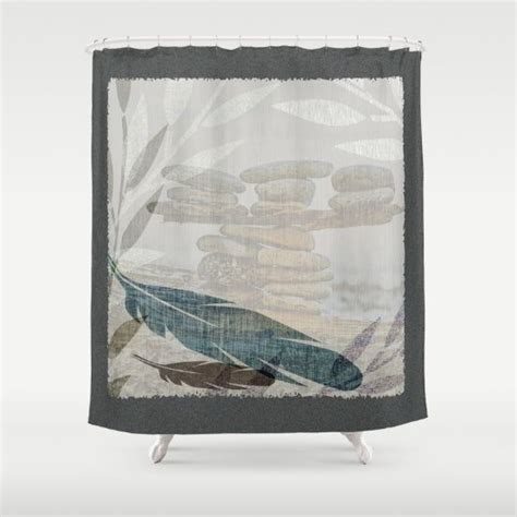 zen shower curtain zen stacked rocks on beach graphic feathers and branches