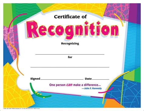 certificate of recognition colorful 30 pk t 2965