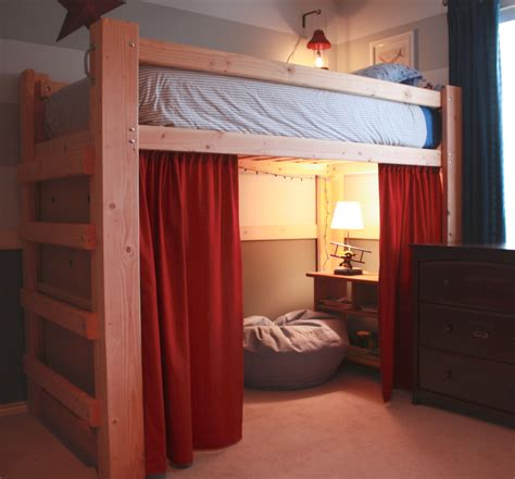 homemade loft bed boys room organize on pinterest triple bunk beds triple