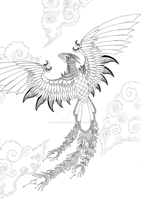 dragon and phoenix tattoo designs outline by crazyeyedbuffalo on deviantart