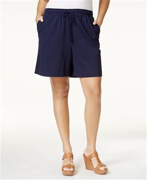 plus size knit shorts plus size drawstring knit shorts only at macy