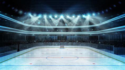 hockey stadium  spectators   empty ice rink stock
