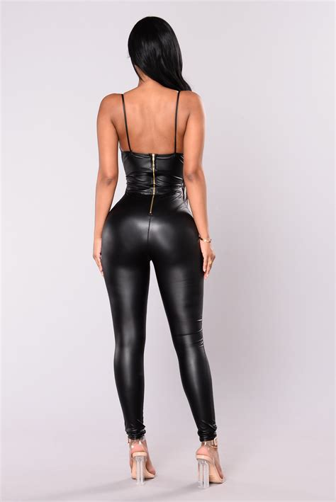 faux leather feels so classic faux leather jumpsuit black